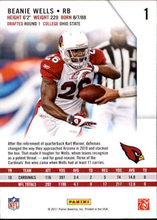 2011 Rookies and Stars #1 Chris Wells back image