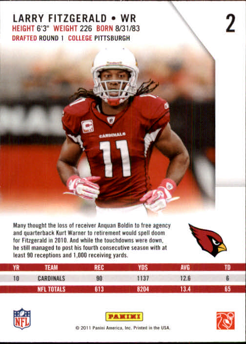 2011 Rookies and Stars #2 Larry Fitzgerald back image