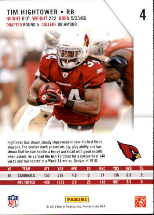 2011 Rookies and Stars #4 Tim Hightower back image