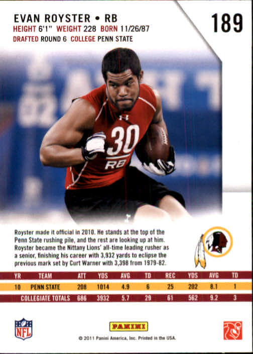2011 Rookies and Stars #189 Evan Royster RC back image
