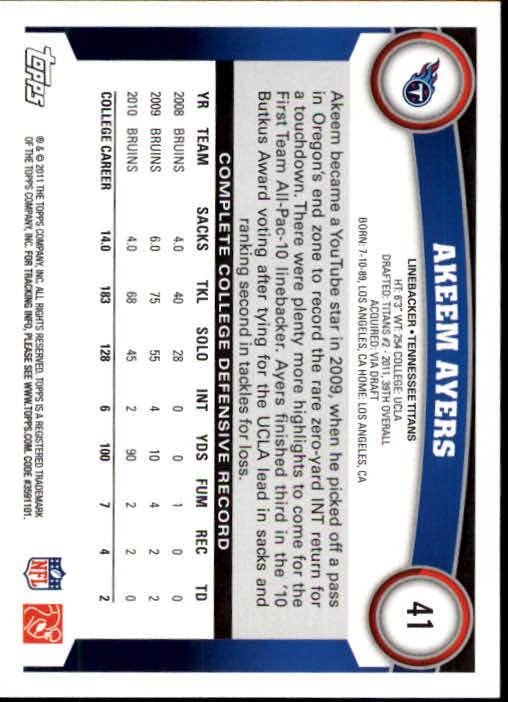 2011 Topps #41 Akeem Ayers RC back image