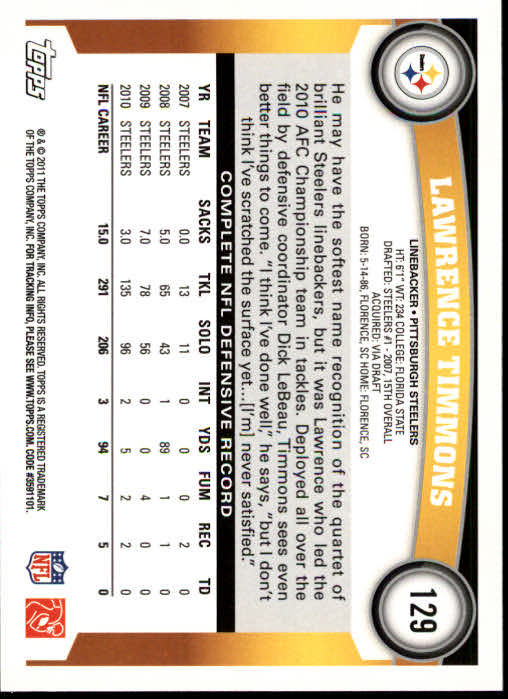 2011 Topps #129 Lawrence Timmons back image
