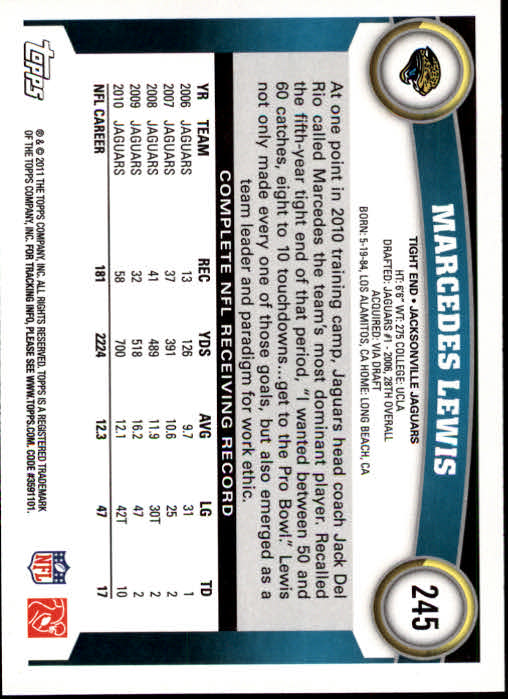 2011 Topps #245 Marcedes Lewis back image
