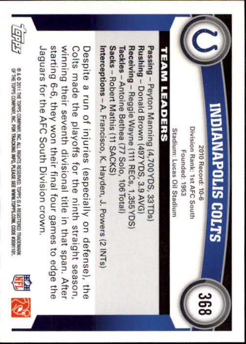 2011 Topps #368 Indianapolis Colts Team/Peyton Manning/Donald Brown back image