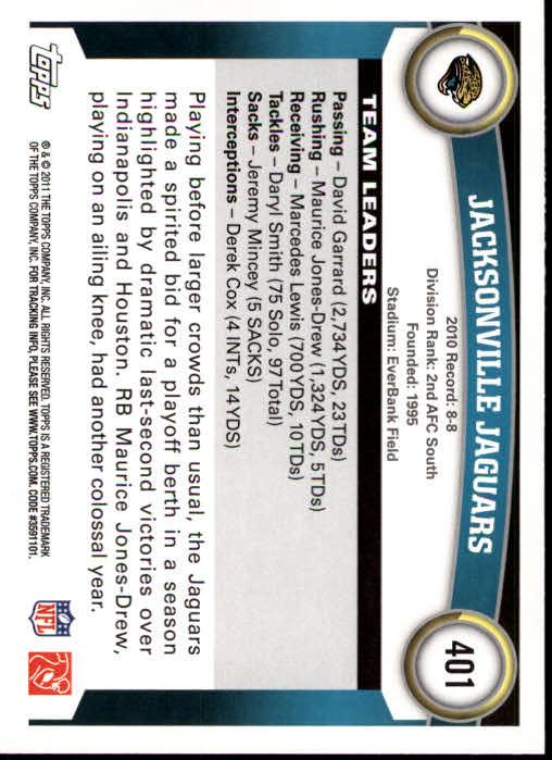 2011 Topps #401 Jacksonville Jaguars Team/Maurice Jones-Drew/David Garrard/Zach Miller back image