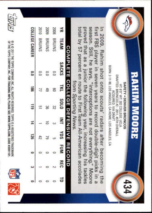 2011 Topps #434 Rahim Moore RC back image