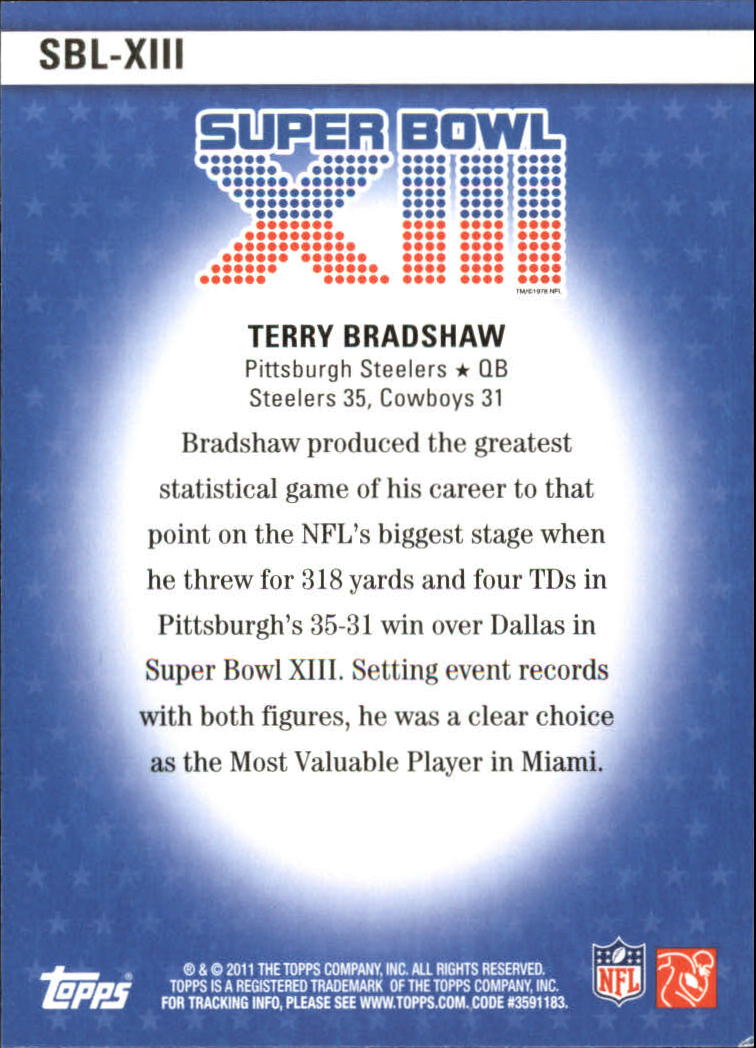2011 Topps Super Bowl Legends #SBLXIII Terry Bradshaw back image