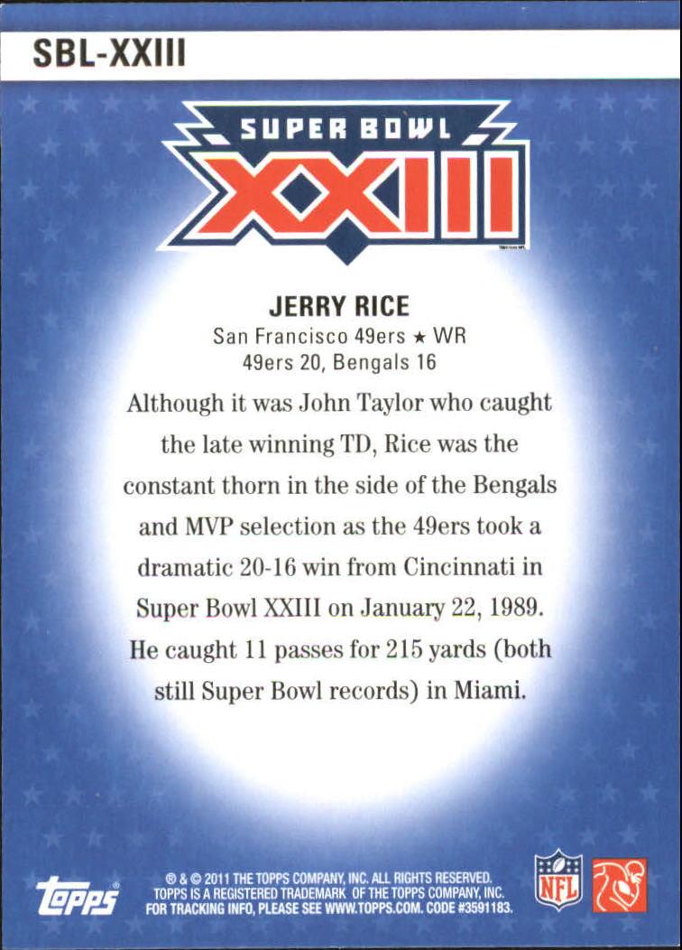 2011 Topps Super Bowl Legends #SBLXXIII Jerry Rice back image