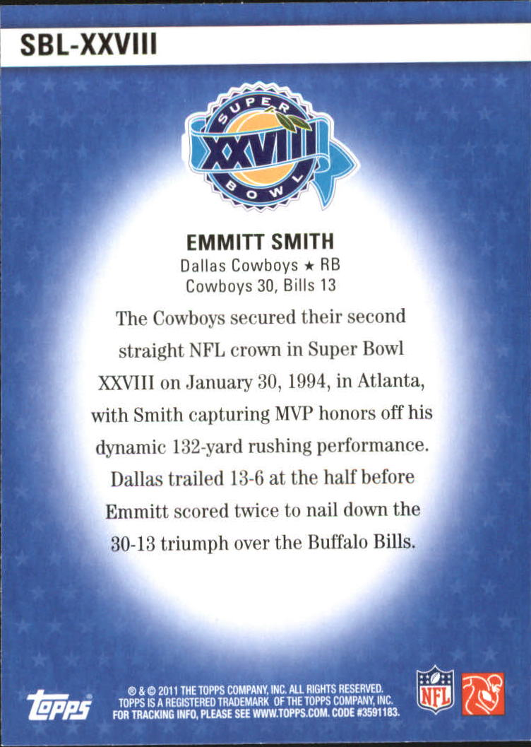 2011 Topps Super Bowl Legends #SBLXXVIII Emmitt Smith back image