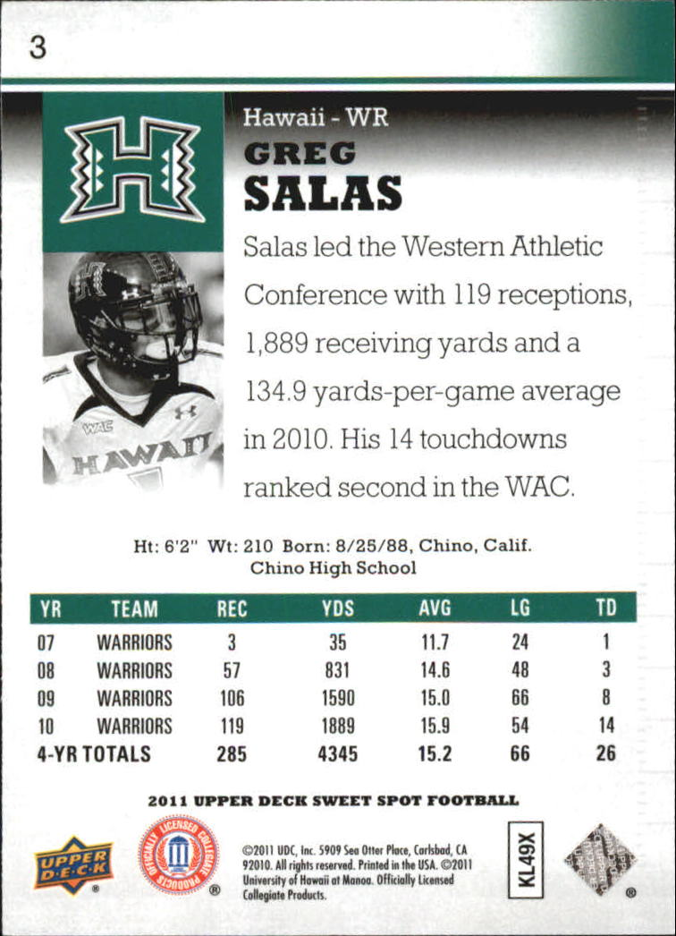2011 Sweet Spot #3 Greg Salas back image