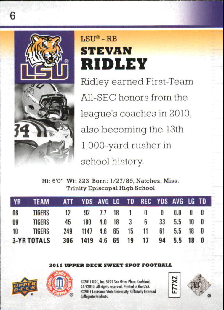 2011 Sweet Spot #6 Stevan Ridley back image