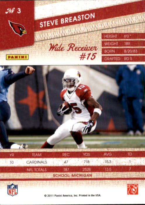 2011 Panini Threads #3 Steve Breaston back image