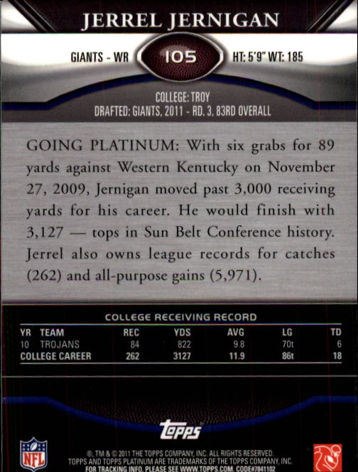 2011 Topps Platinum #105 Jerrel Jernigan RC back image