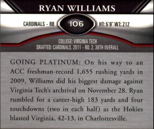2011 Topps Platinum #106 Ryan Williams RC back image