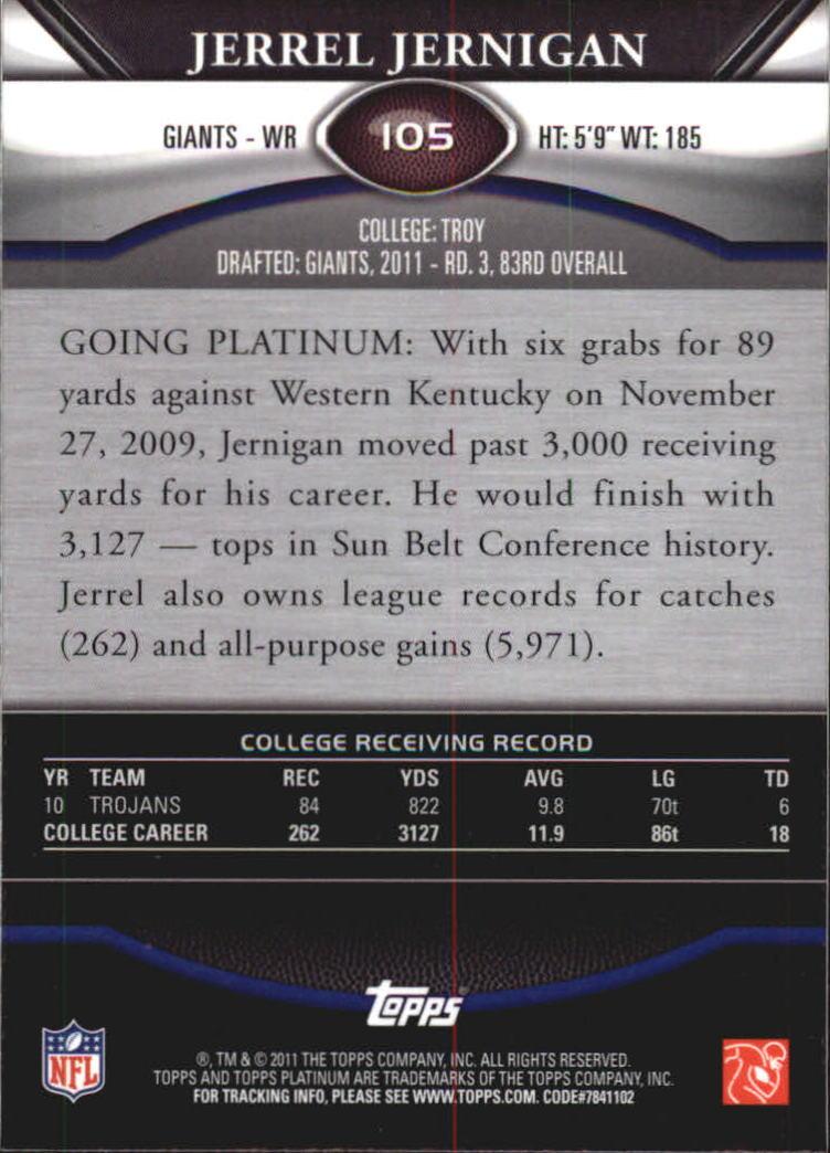 2011 Topps Platinum Xfractors #105 Jerrel Jernigan back image