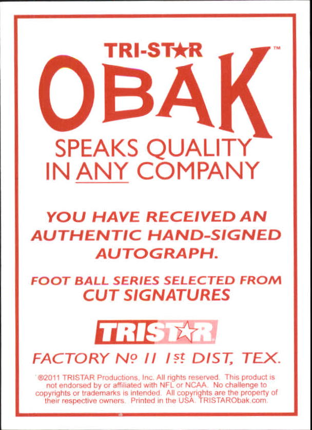 2011 TRISTAR Obak Cut Signatures Purple #84 Charles White back image