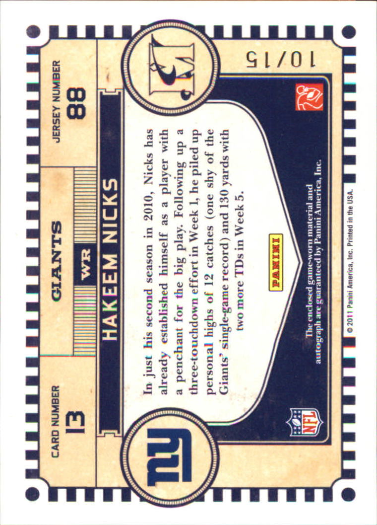 2011 Timeless Treasures Material Ink Jerseys #13 Hakeem Nicks/15 back image