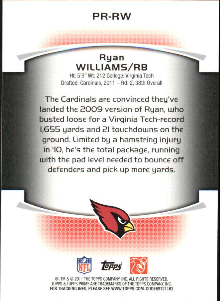 2011 Topps Prime Rookie #PRRW Ryan Williams back image