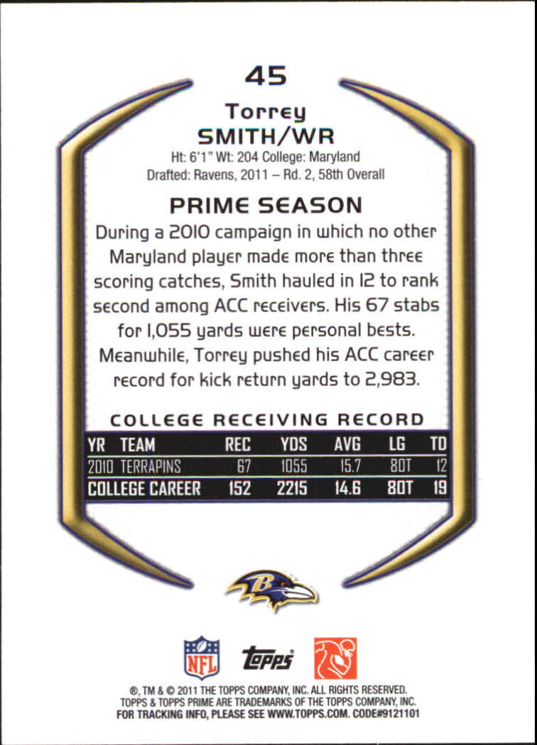 2011 Topps Prime Retail #45 Torrey Smith RC back image