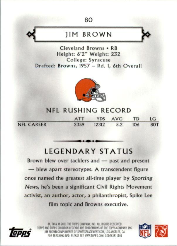 2011 Topps Legends #80 Jim Brown back image