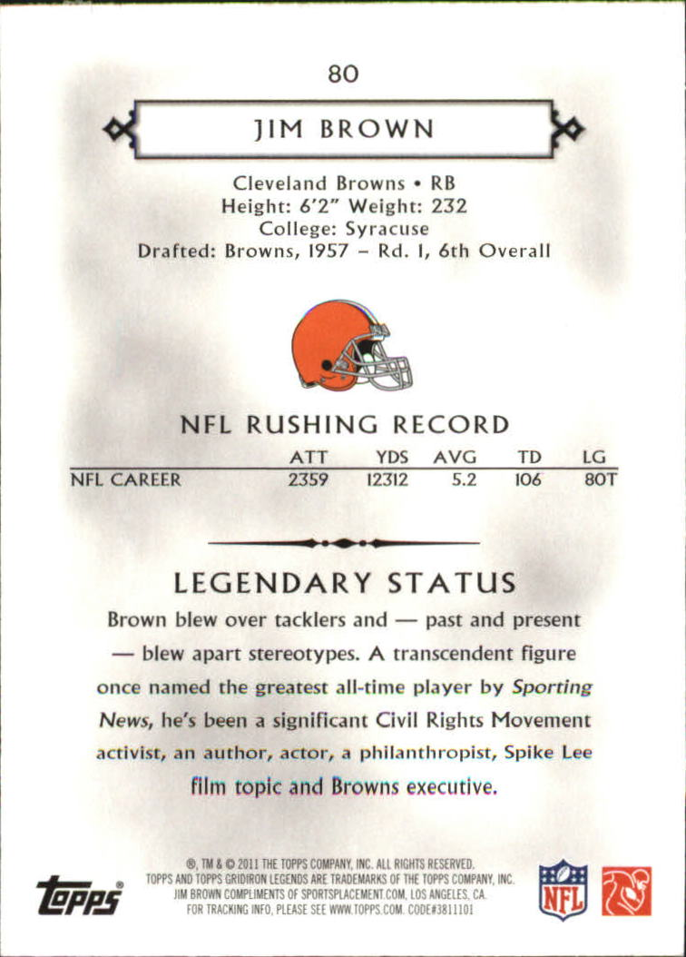 2011 Topps Legends Blue #80 Jim Brown back image