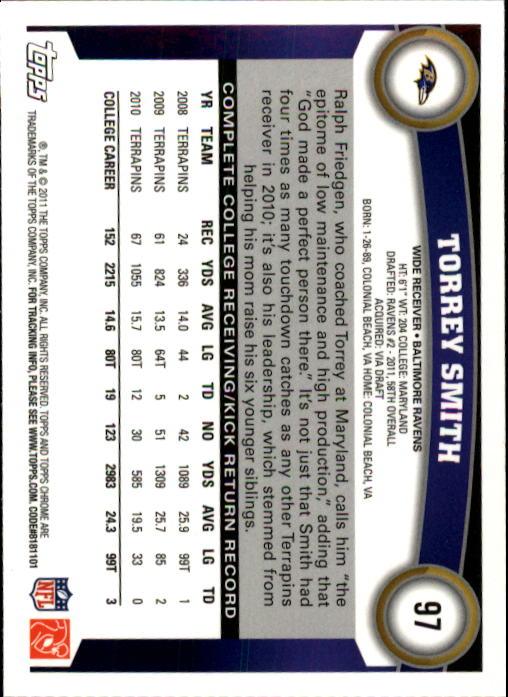2011 Topps Chrome #97A Torrey Smith RC/(looking up for football) back image