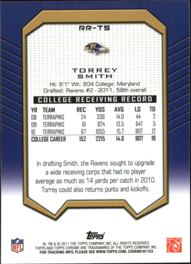 2011 Topps Chrome Rookie Recognition #RRTS Torrey Smith back image