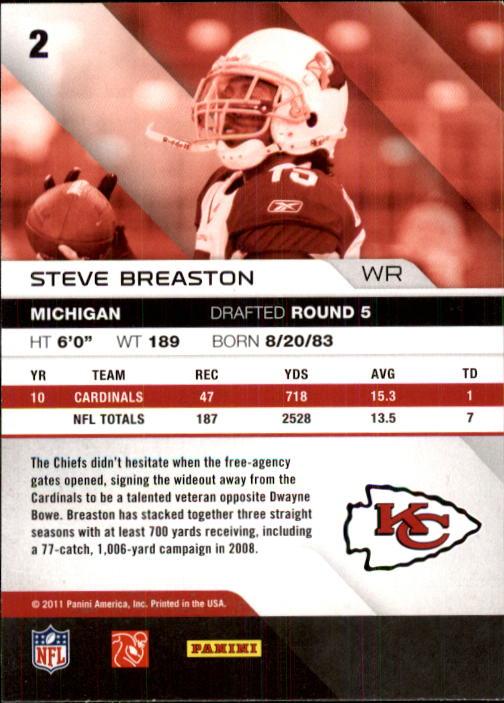 2011 Absolute Memorabilia #2 Steve Breaston back image
