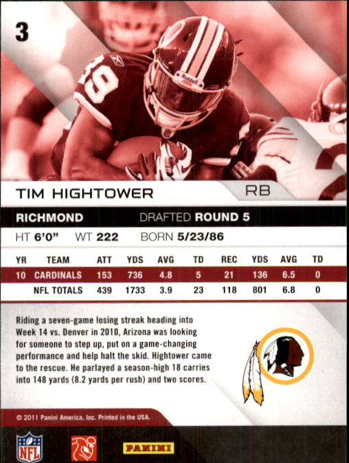 2011 Absolute Memorabilia #3 Tim Hightower back image