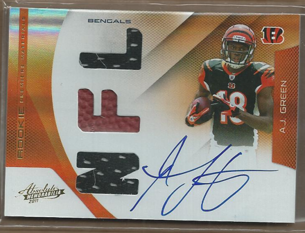 2011 Absolute Memorabilia #203 A.J. Green RPM AU/194 RC