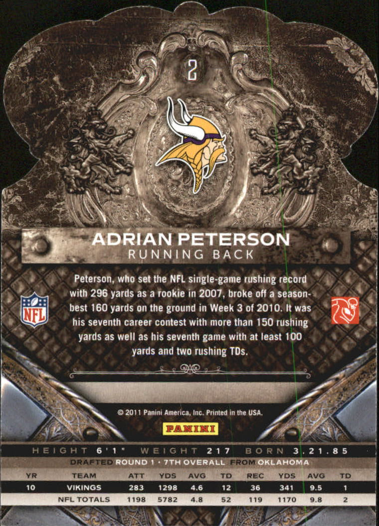 2011 Crown Royale #2 Adrian Peterson back image