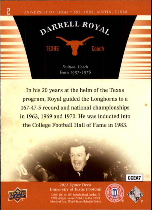 2011 Upper Deck Texas #2 Darrell Royal CO back image