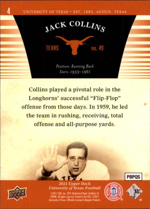 2011 Upper Deck Texas #4 Jack Collins back image