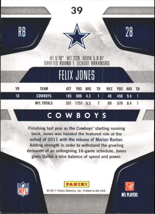 2011 Certified #39 Felix Jones back image
