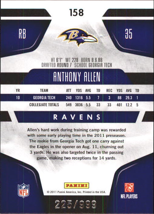 2011 Certified #158 Anthony Allen RC back image