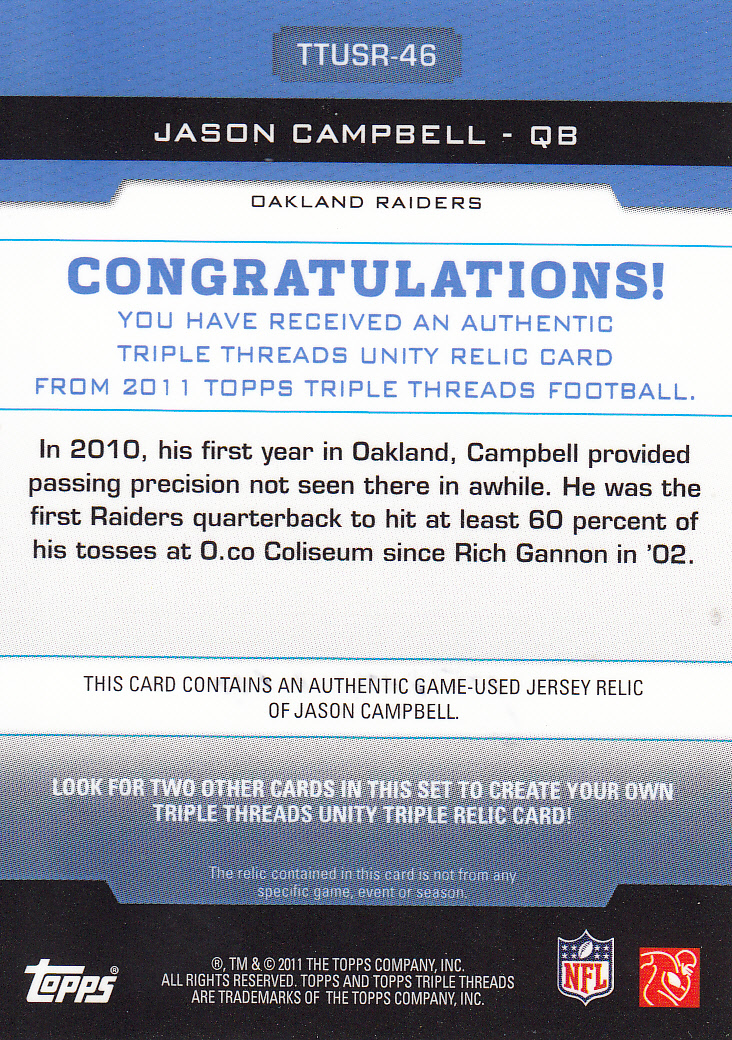 2011 Topps Triple Threads Unity Relics #TTUSR46 Jason Campbell back image