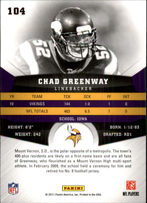 2011 Panini Gridiron Gear #104 Chad Greenway back image