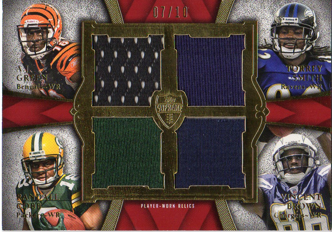2011 Topps Supreme Rookie Relic Quad Combos Red #GSCB A.J. Green/Torrey Smith/Randall Cobb/Vincent Brown