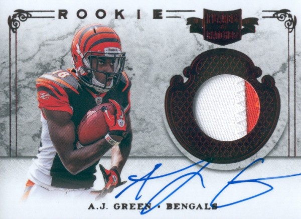 2011 Panini Plates and Patches #204 A.J. Green JSY AU/299 RC