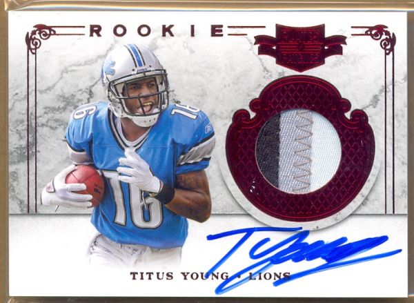 2011 Panini Plates and Patches #215 Titus Young JSY AU/499 RC