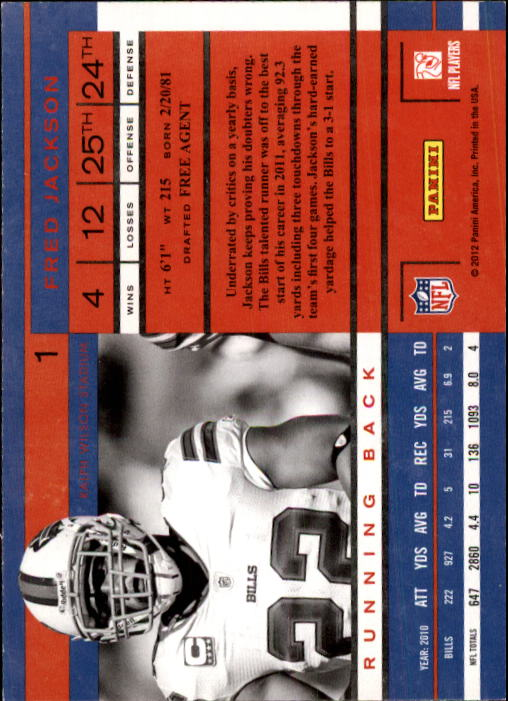 2011 Playoff Contenders #1 Fred Jackson back image