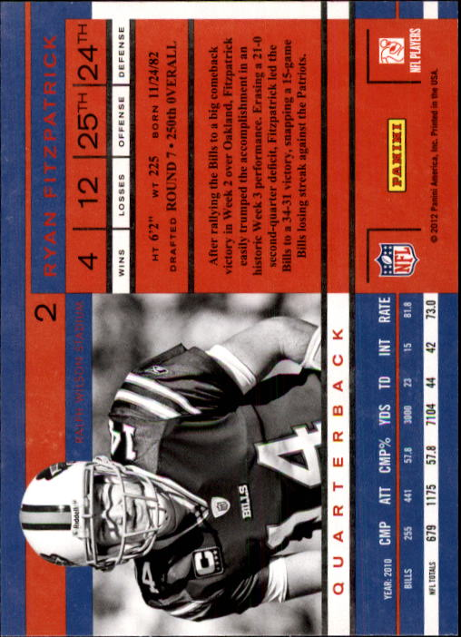 2011 Playoff Contenders #2 Ryan Fitzpatrick back image