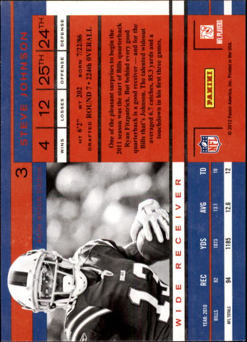 2011 Playoff Contenders #3 Steve Johnson back image