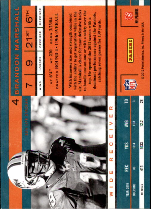 2011 Playoff Contenders #4 Brandon Marshall back image