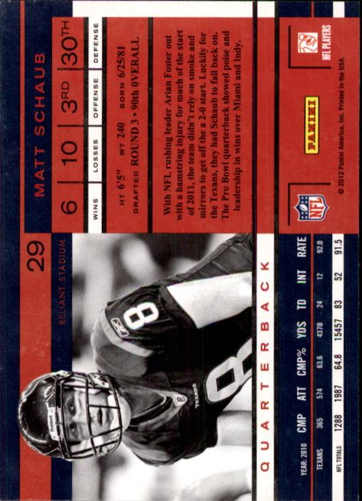 2011 Playoff Contenders #29 Matt Schaub back image