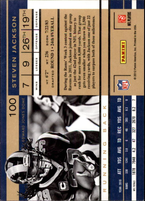 2011 Playoff Contenders #100 Steven Jackson back image