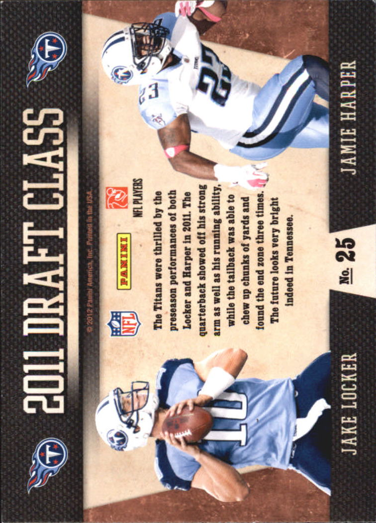 2011 Playoff Contenders Draft Class #25 Jake Locker/Jamie Harper back image