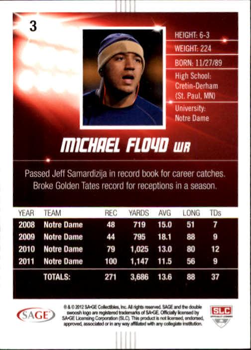 2012 SAGE HIT #3 Michael Floyd back image