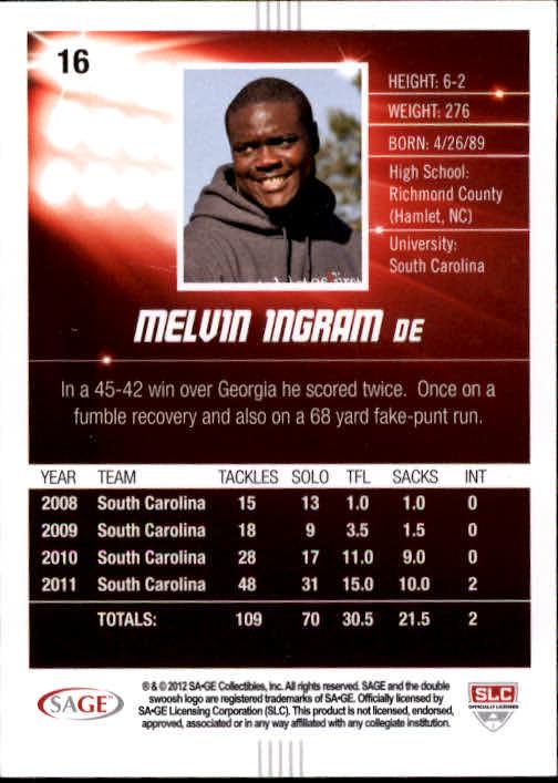 2012 SAGE HIT #16 Melvin Ingram back image