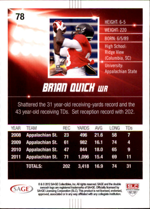 2012 SAGE HIT #78 Brian Quick back image